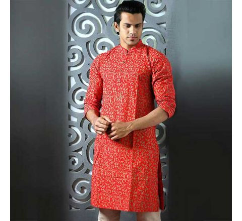 Cotton Regular Fit Long Men's Panjabi With Payjama 08