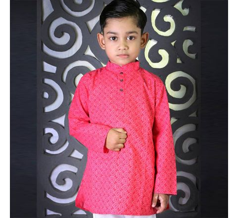 Cotton Regular Fit Long Kid's Panjabi With Payjama 02