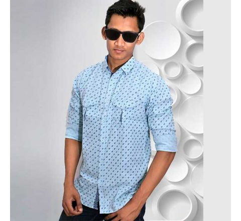 Full Sleeve Cotton Men's Casual Shirt Blue - CSLS 02