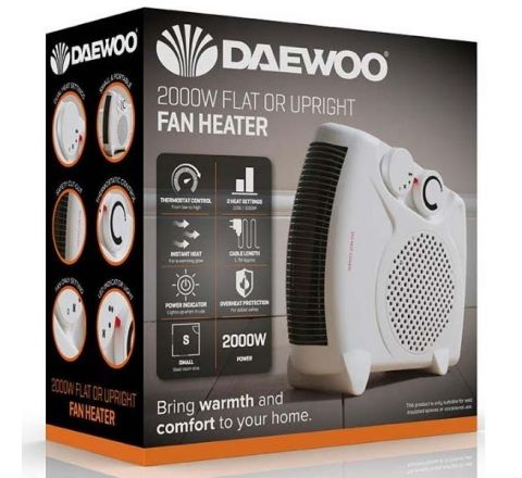 DAEWOO Electric Portable Flat/Upright Fan Heater - 2000w