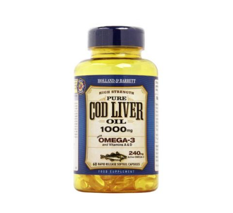 Holland & Barrett Cod Liver Oil 60 Capsules 1000mg