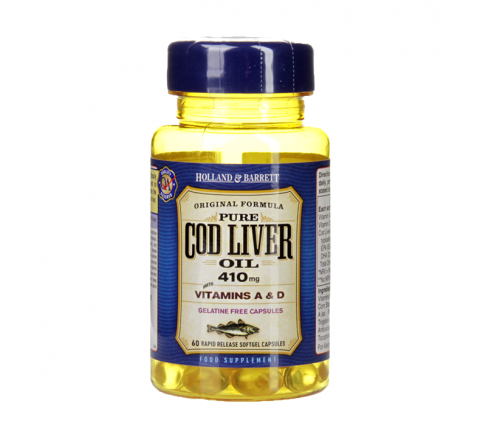 Holland & Barrett Cod Liver Oil 410mg 100 Softgel Capsules
