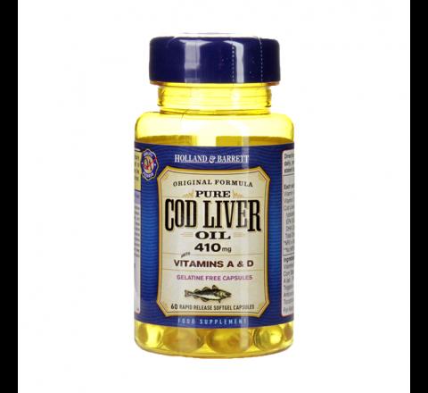 Holland & Barrett Cod Liver Oil 410mg 100 Softgel Capsules