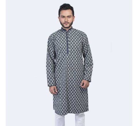 LAVELUX Cotton Black and White Mens Panjabi LMP109
