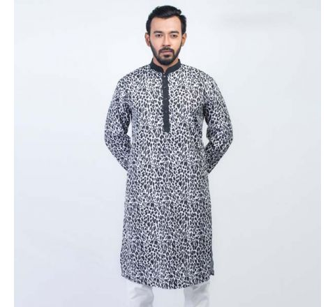 LAVELUX Cotton Black, White & Ash Mens Panjabi LMP116