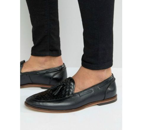 Black Leather Loafers With Woven Detail