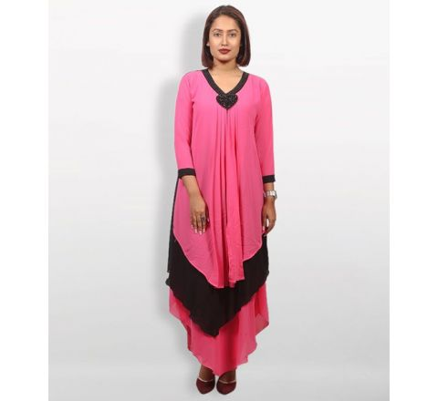 MJ Fashion Park Pink and Black AC Net Kurti