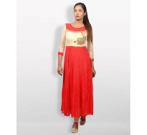 MJ Fashion Park Red and Gold Georgette Kurti