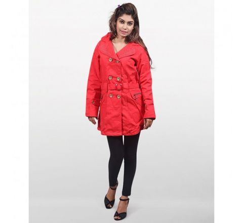 MJ Fashion Park Twill Casual Winter Wear Coat - Red