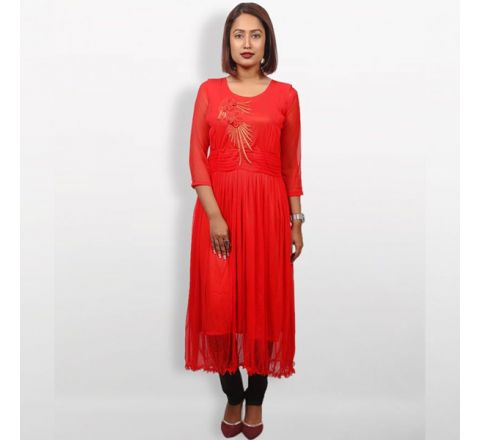 MJ Fashion Park Red AC Net Kurti