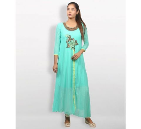 MJ Fashion Park Turquoise Georgette Kurti