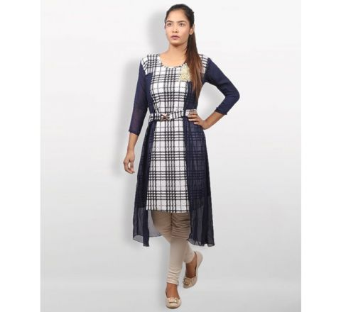 MJ Fashion Park Black And White Georgette Kurti
