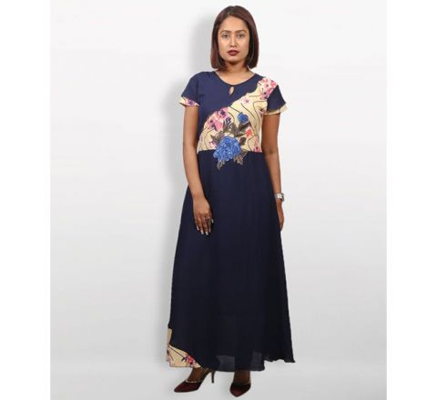 MJ Fashion Park Mid Night Blue Georgette Kurti