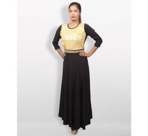 MJ Fashion Park Black and Gold Georgette Kurti