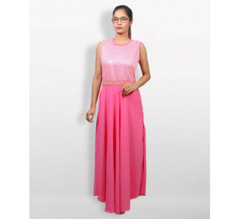 MJ Fashion Park Pink Georgette Kurti