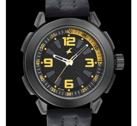 Fastrack Black Dial Leather Strap Watch - Black
