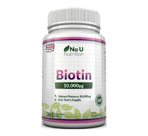 Nu U Nutrition Biotin Hair Growth Supplement - 365 Tablets