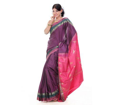 Banarasi Katan Par Achol Gonga Jamuna Saree OB12