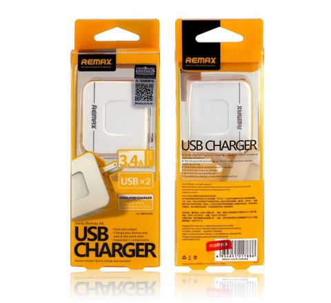 REMAX 2.4A DUAL USB POWER ADAPTER White