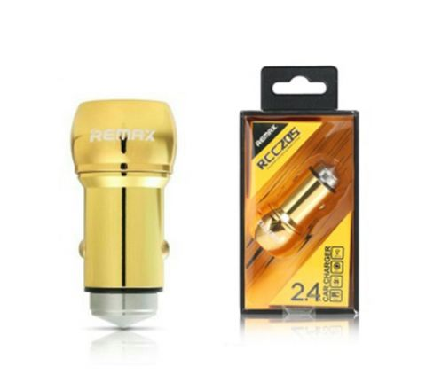 REMAX FAST DUAL USB CAR CHARGER 2.4A RCC205 Gold