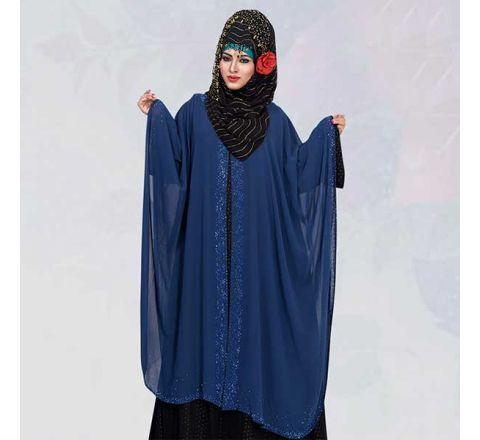 Blue Silk Double Georgette Abaya