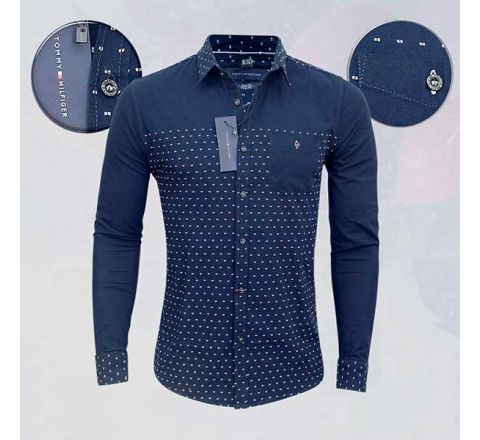 Tommy-Hilfiger Blue Print Slim Fit Casual Shirt