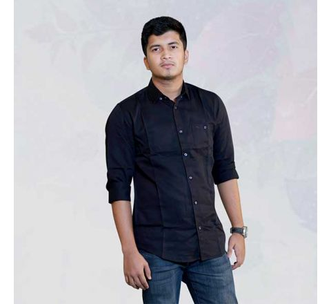 Colin's Black Solid Slim Fit Casual Shirt