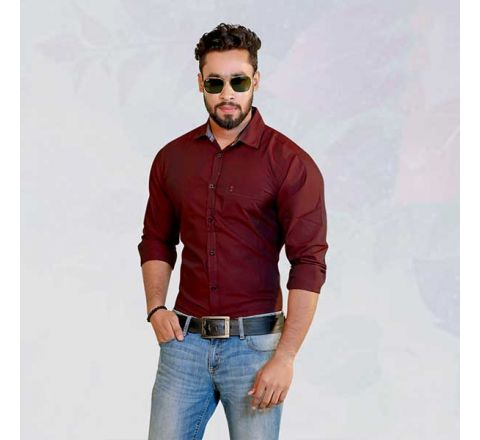 Izod Maroon Solid Straight Fit Casual Shirt - 831