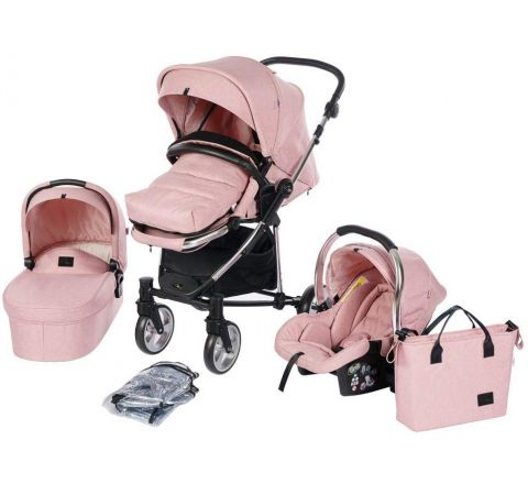 Roma Vita² Travel System Pram, Carry Cot and Car Seat Package - Pink