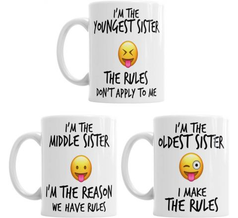 Youngest Middle Oldest Child Sisters Rules Funny Coffee Mug Tea Cup Gift