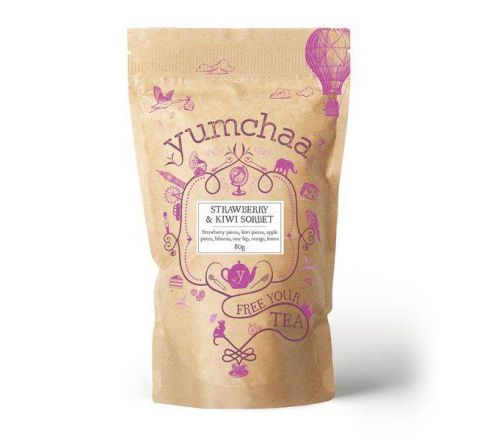 Yumchaa Tea Strawberry & KIWI Sorbet Loose Leaf Rooibos Blend 80g